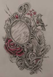 hand mirror sketch. Traditional Rose And Hand Mirror Tattoo Design Sketch