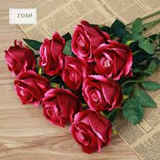 artificial flowers red roses 5pcs real looking velvet touch fake rose w stem for diy wedding