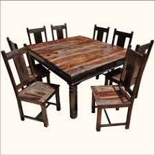 richmond rustic solid wood large square dining room table chair set