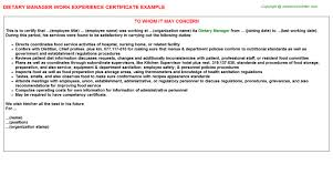 dietary manager job description dietary manager experience certificate