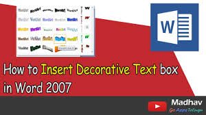 Decorative Text Boxes How to Insert Decorative Text box in Word 100 MS Word 58