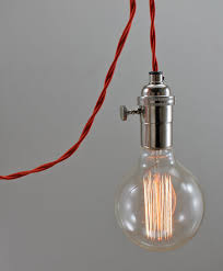 85 extra large round filament bulb red wire and chrome socket triple socket pendant light lamp
