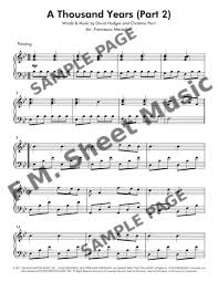 A Thousand Years Sheet Music A Thousand Years Part 2 Intermediate Piano By Christina