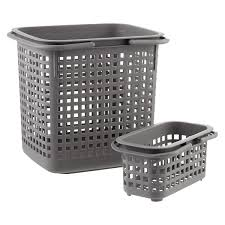 Grey Cestino Stackable Storage Baskets with Handles ...