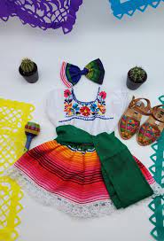 Baby Girl Mexican Outfit (Sarape Print ...