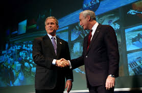 are we really going to the moon history isn t kind to  president george w bush and nasa administrator sean o keefe on 14
