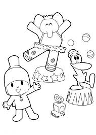 Small Picture Pocoyo Doing Circus with His Friends Coloring Page Color Luna