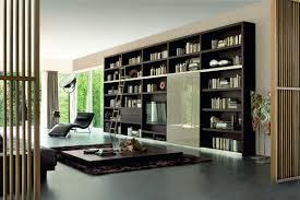 modern bookshelves furniture. contemporary modern great home library design with modern black wooden wall bookcase furniture  ideas also unique corner lounge chair and flat brown table  throughout bookshelves