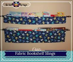 i made these small and large fabric bookshelf slings when we were decorating our first son s nursery i wanted something that didn t take up a lot of space