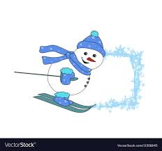 christmas cartoon character frame skiing snowman vector image