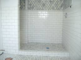 white tile with grout subway gray shower black and cabinets granite whi
