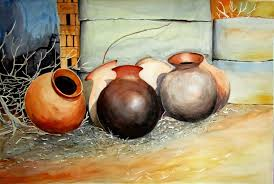 pots composition painting by artist biki das watercolor paper