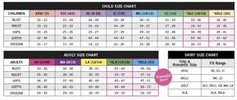 Sizing Chart Balera Danceboxnz