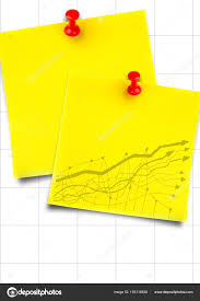 Yellow Sticky Notes With Yellow Graph Against White Graph