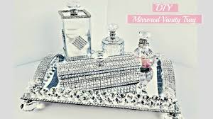 diy dollar tree room decor 5 piece mirror vanity tray set so glam with bling