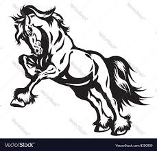 draft horse head silhouette. Wonderful Horse Draft Horse In Motion Black White Vector Image In Horse Head Silhouette M