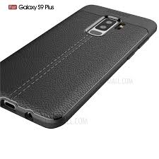 litchi skin flexible tpu back cover case for samsung galaxy s9 plus g965 black