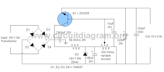 circuit diagram v dc power supply the wiring diagram simple 0v to 15v 1a adjustable power supply circuitdiagram wiring diagram