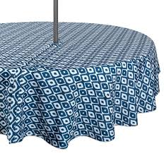 dii blue ikat outdoor tablecloth with zipper 60 round mediterranean tablecloths by design imports