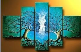 santin art wood framed  on hand painted wood wall art with santin art wood framed on the back wall art blue tree human body