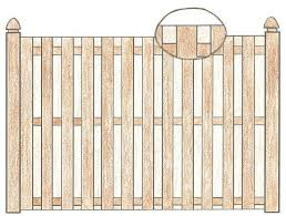 wood fence drawing. Flat Picket Fence Wood Drawing I