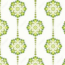 Vector Illustratie Van Een Groene Vintage Naadloze Patroon Behang