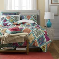 bohemian bedding collection reversible real patchwork cotton fairy forest glade fl boho chic quilt bedspread