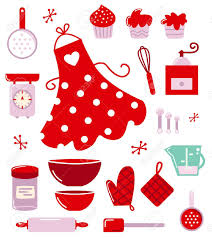 Red Retro Kitchen Accessories Retro Set For Baking Or Cooking Royalty Free Cliparts Vectors