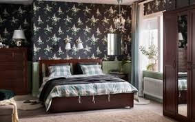 ikea teenage bedroom furniture. Traditional, Dark Brown And Green Bedroom With Floral Wall Paper  SONGESAND Bed, Ikea Teenage Furniture R