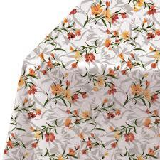 <b>Скатерти V-Line</b>, <b>140х180см</b>, <b>овал</b>, цветы, белый/оранжевый, ПВХ