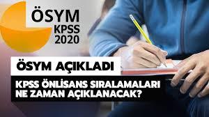 2020 KPSS Önlisans branş sıralamasının açıklanacağı tarih açıklandı! KPSS önlisans  branş sıralaması ne zaman açıklanacak?