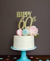 Amazoncom Astra Gourmet Gold Glitter Happy 60th Birthday Cake
