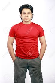 stock photo yong indian male model wearing red t shirt and jeans