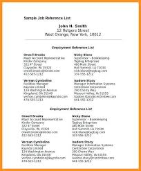 6 7 Professional Reference List Template Wear2014 Com