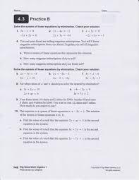 classwork practice b elimination problems
