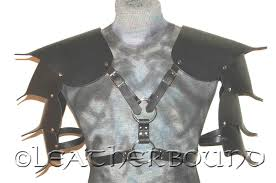 details about leather gothic shoulder armor pauldrens w long arm larp cosplay ren fair sca