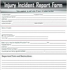 Offense Incident Report Injury Form Template Free Templates Syncla Co
