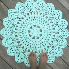 robins egg blue cotton crochet doily rug in 30 circle lacy patt