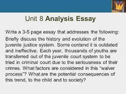 chapter juvenile court process pretrial trial and sentencing  unit 8 analysis essay write a 3 5 page essay that addresses the following