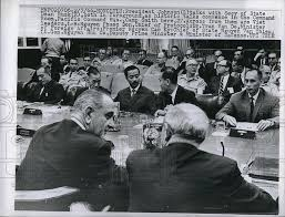 Image result for U.S. President Lyndon Johnson meets with South Vietnamese President Nguyen Van Thieu in Honolulu