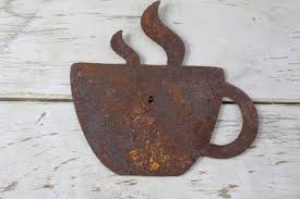 thick rusty metal coffee cup rustic metal letters wall art pertaining to most cur