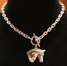 dressage horse head necklace silver silhouettes tm tiffany style