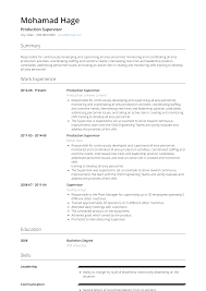 Production Supervisor Resume Samples And Templates Visualcv