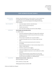 Pleasant Journeyman Ironworker Resume for Ironworker Resume