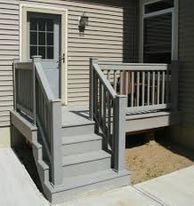 stairs outside step railings hand railings for steps grey back porch deck with three steps