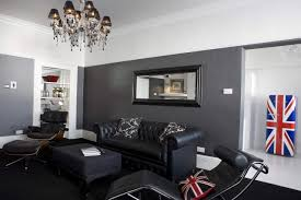 living room with black furniture. Black Furniture Interior Design Photo Ideas Small Modern Living Room With Leather Chaise O