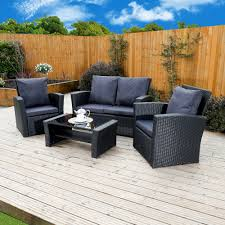 4 piece algarve rattan sofa set in black with dark cushions includes free protective cover