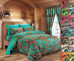 queen size 12 pc teal camo set comforter sheet curtain camouflage blue green