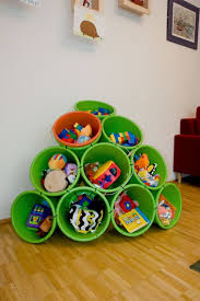 buckets and zip tiles as diy toy storage