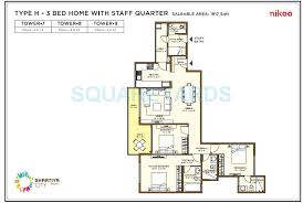 bhartiya nikoo homes flagship 3 bhk 1917 sq ft apartment floor plan